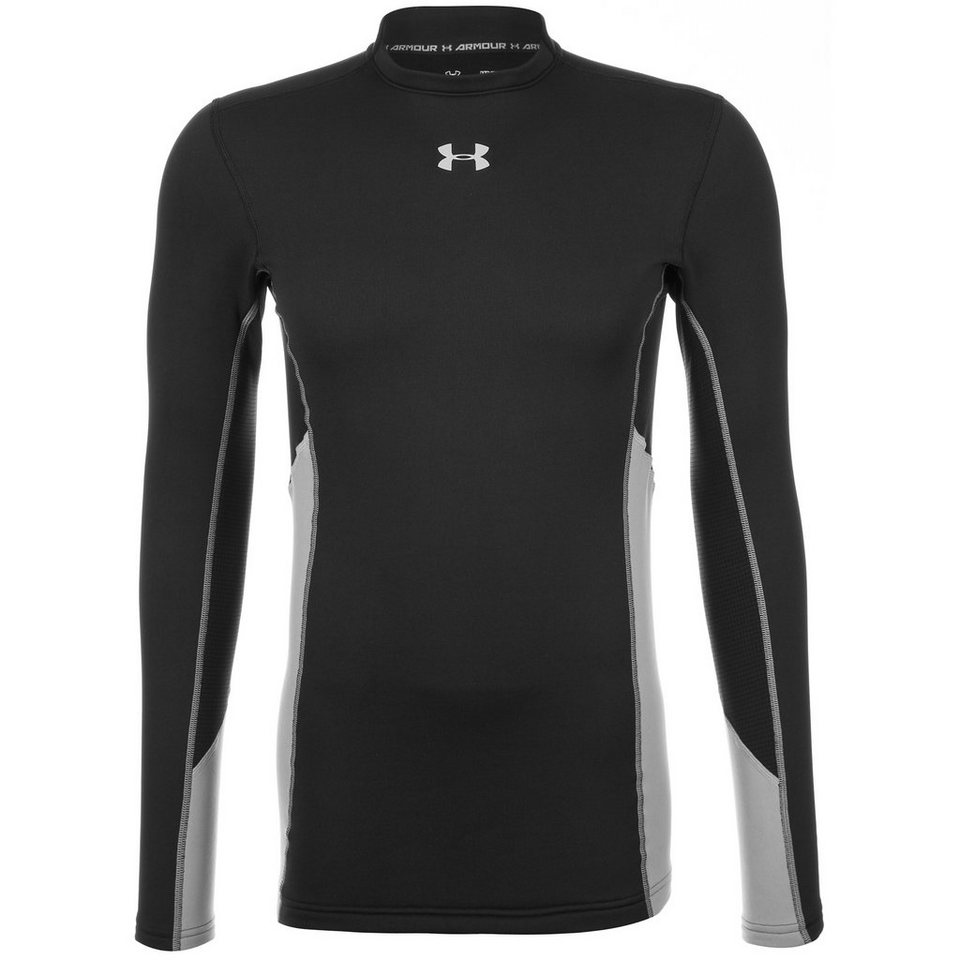 Under Armour® ColdGear Armourstretch Compression Funktionsshirt Herren in schwarz / silber