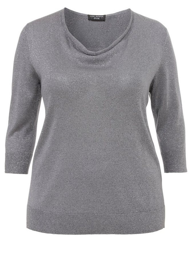 VIA APPIA DUE Pullover »Soft Glimmer« in MITTELGRAU