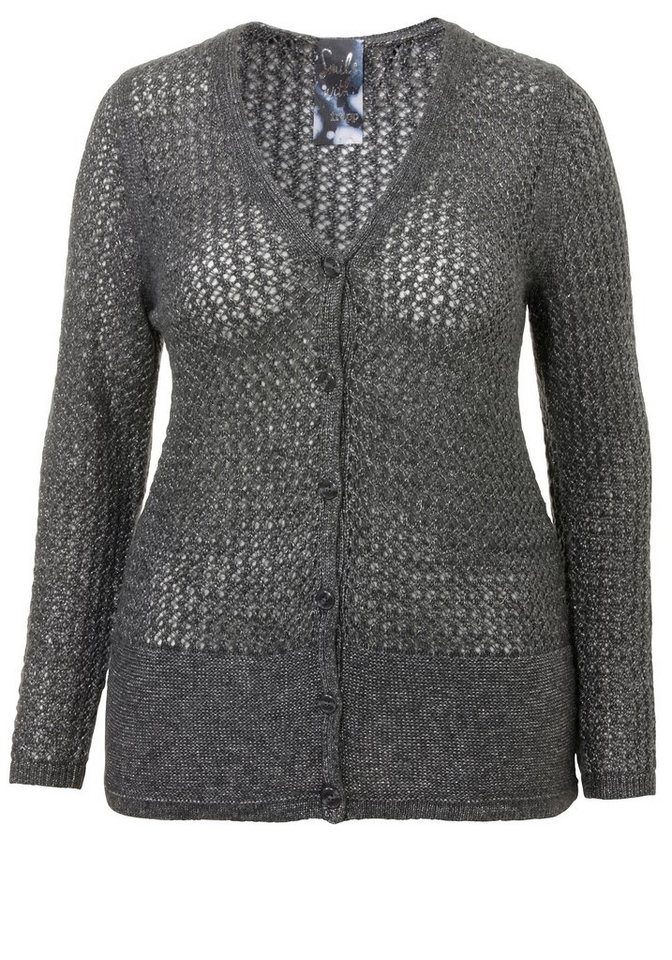 FRAPP Strickjacke in DARK GREY MELANGE