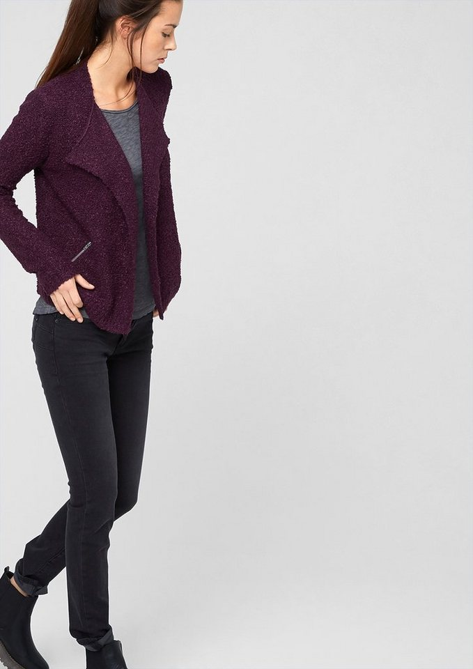 s.Oliver Denim Bouclé-Cardigan mit Zippern in red wine melange