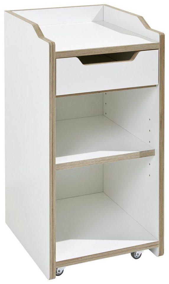 müller möbelwerkstätten® Rollcontainer »PLANE« ohne Tür in weiß mit Birkenkante
