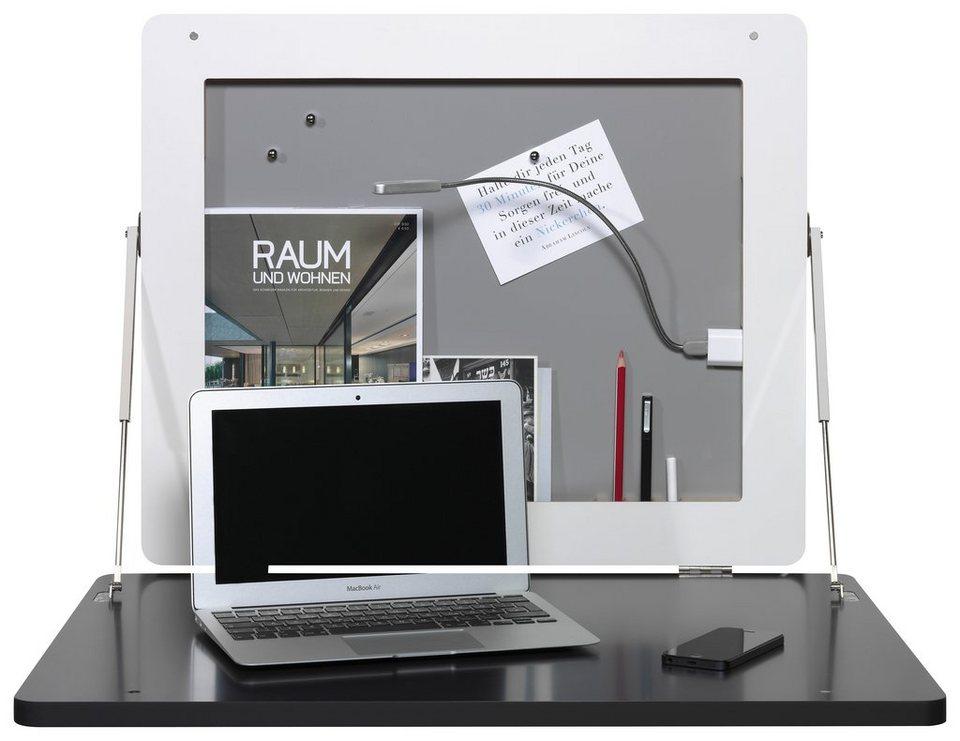 müller möbelwerkstätten® Sekretär »FLATFRAME« zur praktischen Wandmontage in weiß mit Birkenkante