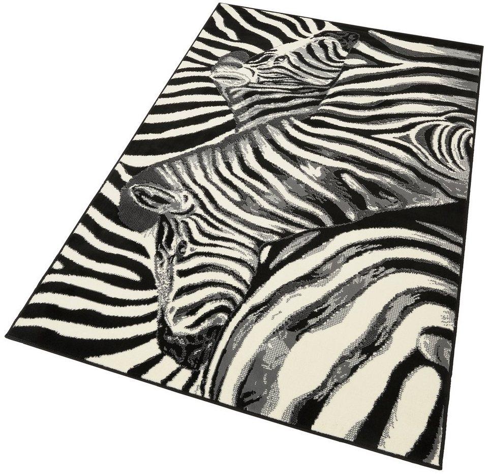 Designteppich »Zebra«, Hanse Home, rechteckig, Höhe 9 mm in schwarz-grau-natur