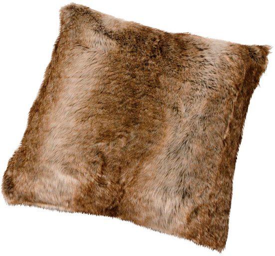Gözze Fellkissen »Braunbär Felloptik«, mit Federn gefüllt