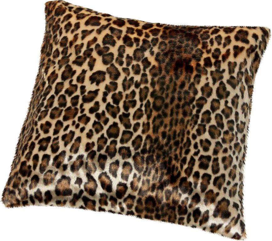 Kissen, Gözze, »Leopard Felloptik«, mit Federn gefüllt in braun