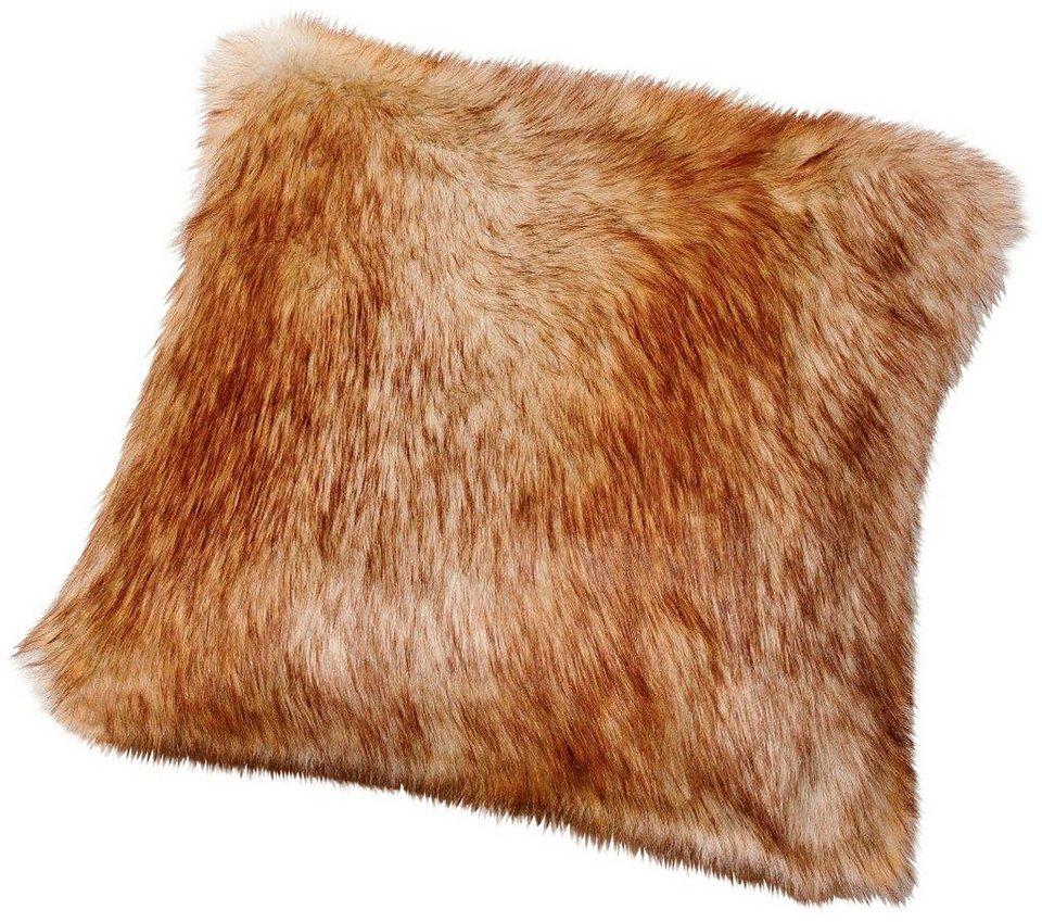 Kissen, Gözze, »Fuchs Felloptik«, mit Federn gefüllt in rot-braun