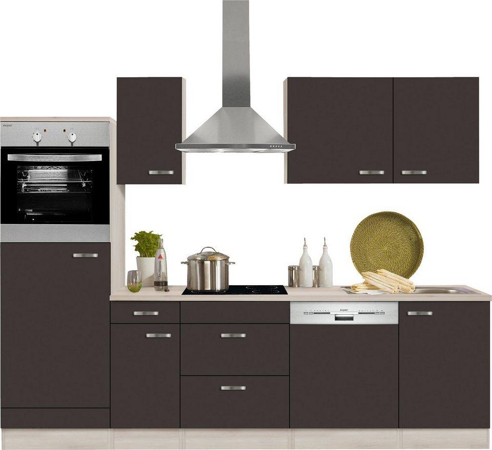 Optifit Küchenzeile mit E-Geräten »Faro«, Breite 270 cm in anthrazit