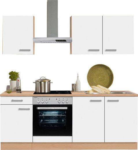 OPTIFIT Küchenzeile »Odense«, mit E-Geräten, Breite 210 cm, mit 28 mm starker Arbeitsplatte, mit Gratis Besteckeinsatz