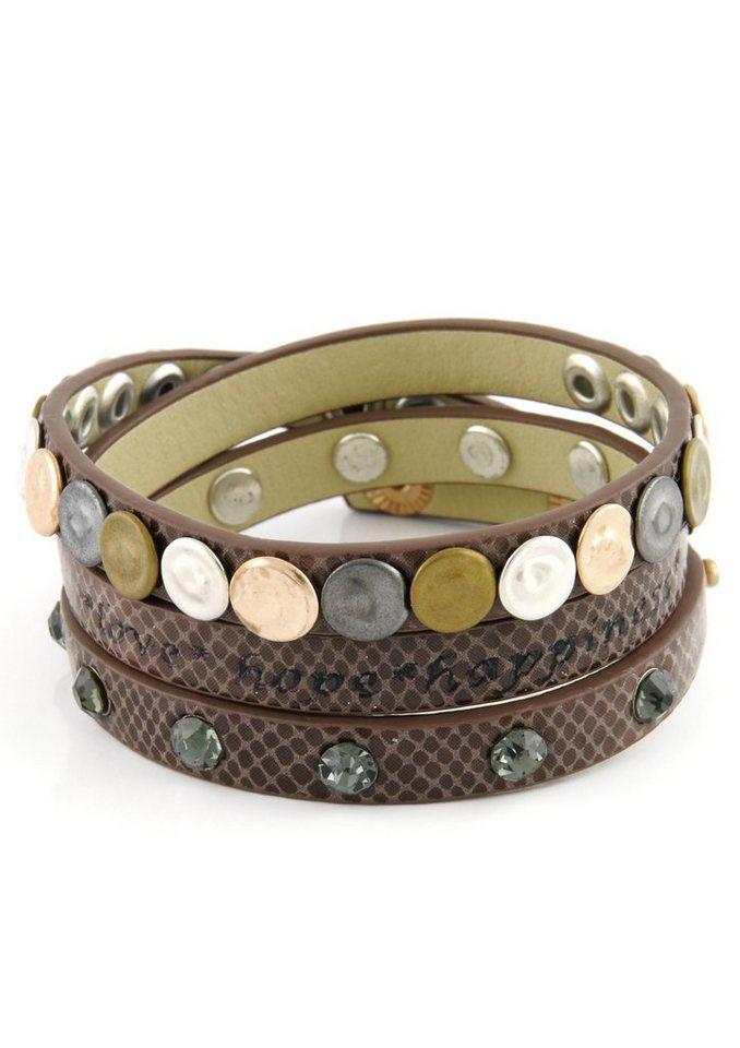 Lizas Wickelarmband mit Nieten und Steinen in silberfarben/dunkelbraun