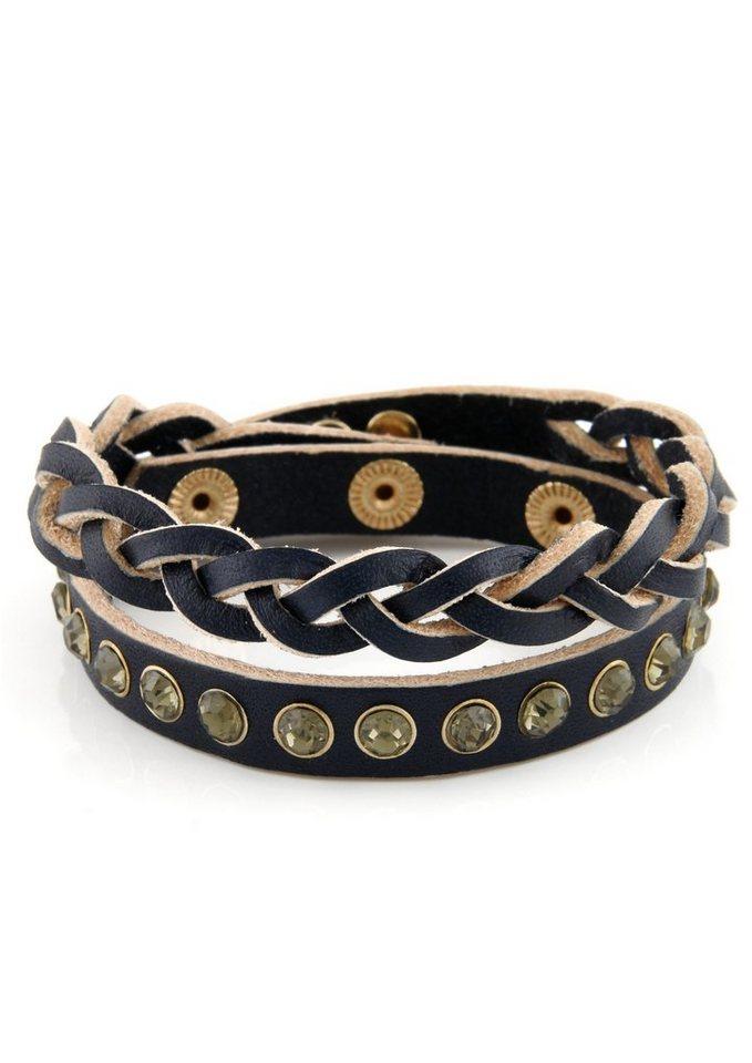 Lizas Wickelarmband mit Steinen in goldfarben/navy