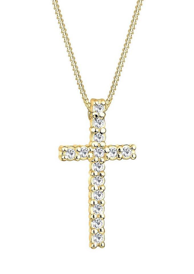 Goldhimmel Kette mit Anhänger, Kreuz mit Swarovski® Kristallen, »Hope, 0111751411« in Silber 925/goldfarben
