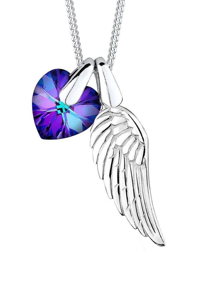 Elli Kette mit Anhänger »Athena, Flügel und Herz, 0112622414« mit Swarovski® Kristall (Set, 3 tlg.) in Silber 925-lila