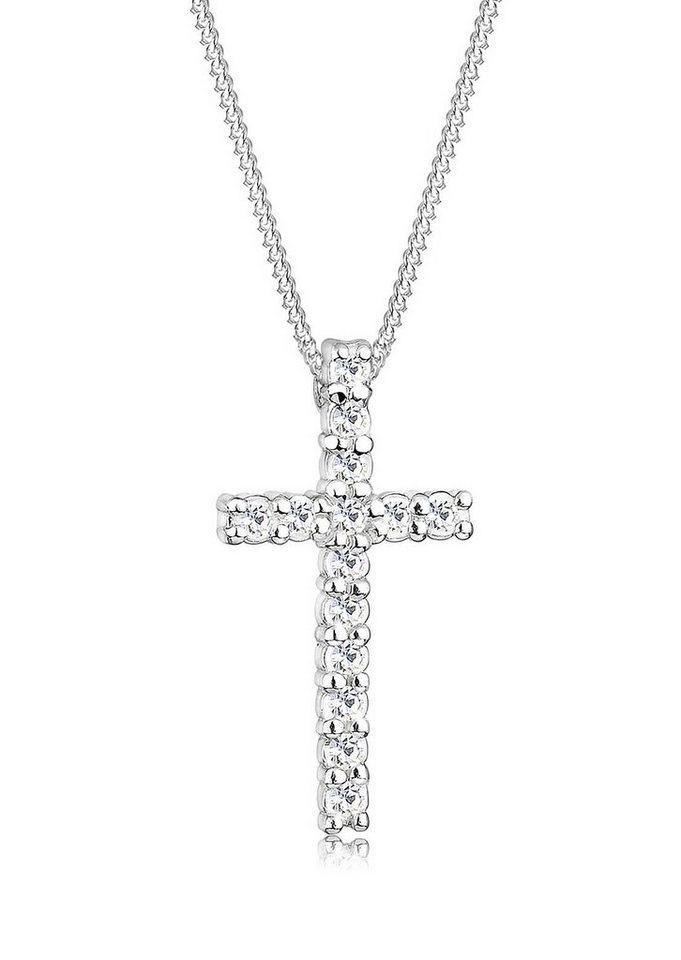 Elli Kette mit Anhänger, Kreuz mit Swarovski® Kristallen, »Hope, 0107421311« in Silber 925