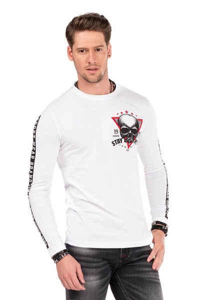 Cipo & Baxx Langarmshirt mit Biker-Elementen