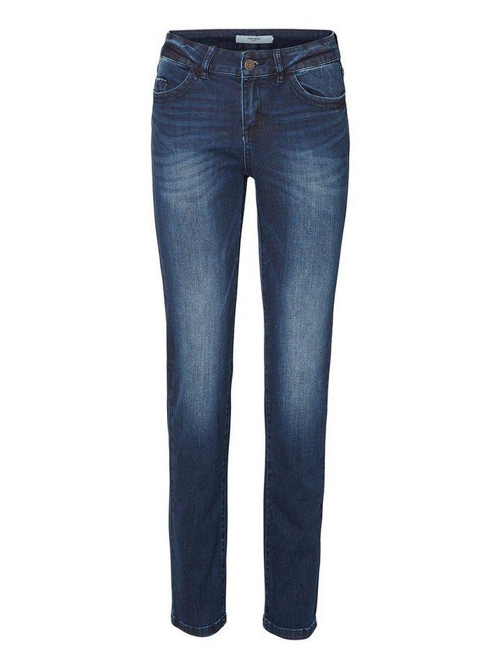 Vero Moda Eleven NW Straight Fit Jeans in Dark Blue Denim
