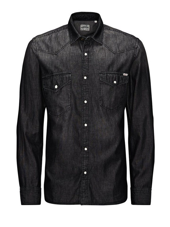 Jack & Jones Denim Langarmhemd in Black Denim