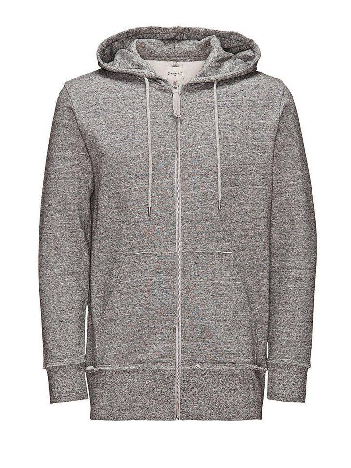 Jack & Jones Mit Reißverschluss versehener Long Fit- Hoodie in Cool Grey