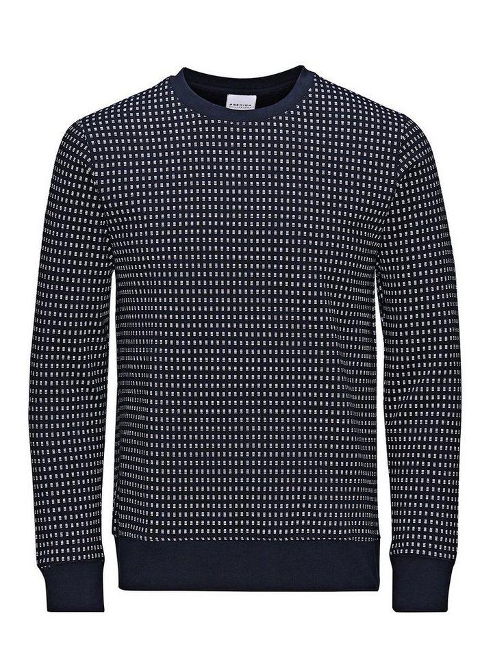 Jack & Jones Gemustertes Slim Fit- Sweatshirt in Navy Blazer