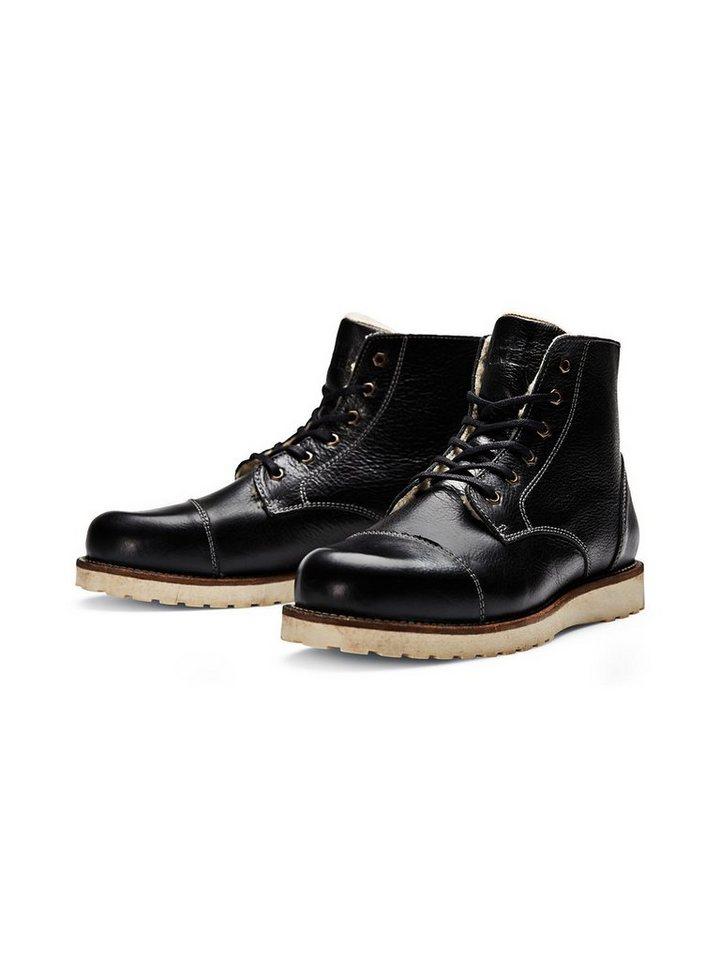 Jack & Jones Klassische gefütterte Lederstiefel in Black