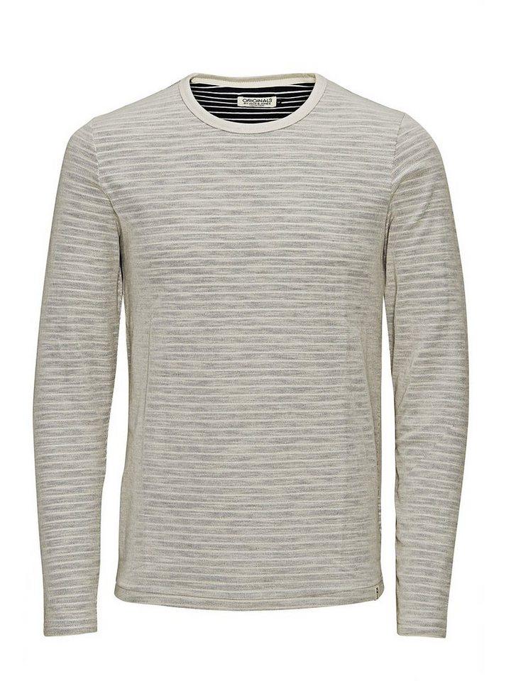 Jack & Jones Gestreiftes T-Shirt mit langen Ärmeln in Navy Blazer