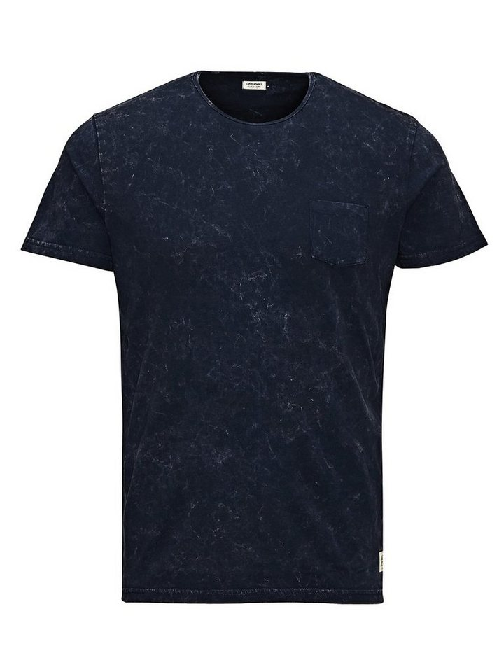 Jack & Jones Mit speziellen Effekten versehenes Long-Fit- T-Shirt in Navy Blazer 1