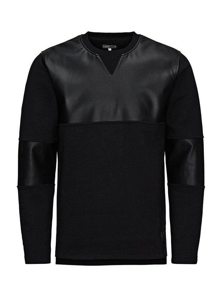 Jack & Jones Lederlook- Sweatshirt in Black