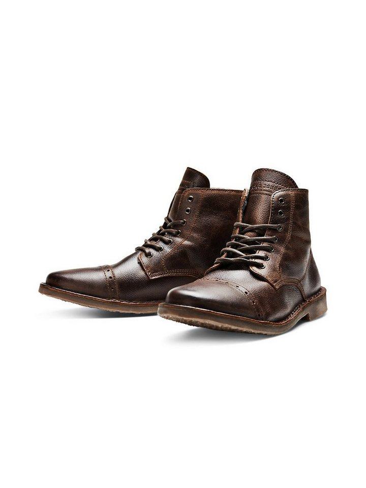 Jack & Jones Lässige Leder- Stiefel in Brown Stone