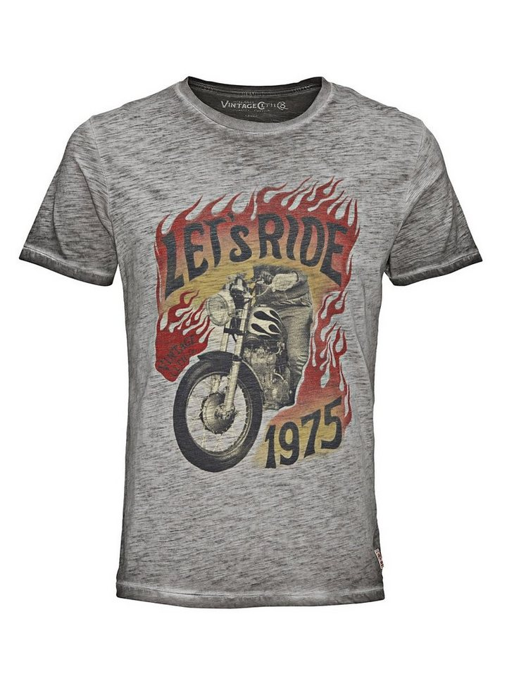 Jack & Jones Biker-Print Regular-Fit- T-Shirt in Caviar
