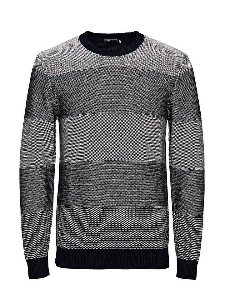 Jack & Jones Strukturierter Streifen- Pullover in Navy Blazer