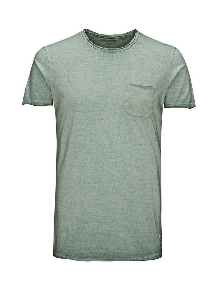 Jack & Jones Überfärbtes Long-Fit- T-Shirt in Dark Forest