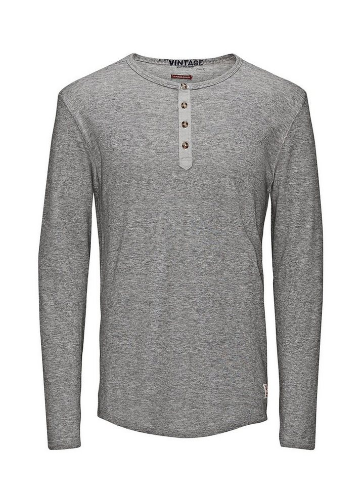 Jack & Jones Grandad- T-Shirt mit langen Ärmeln in Light Grey Melange