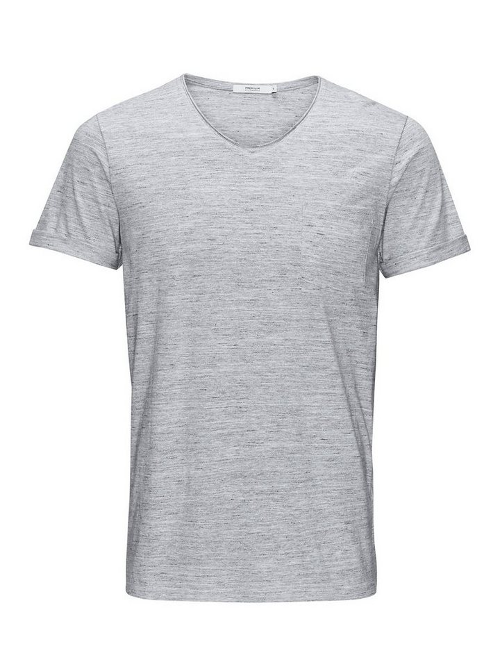 Jack & Jones Melange Slim Fit- T-Shirt in Light Grey Melange