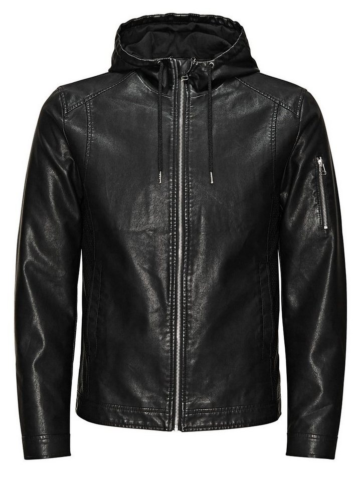 Jack & Jones Lederimitat- Lederjacke in Black