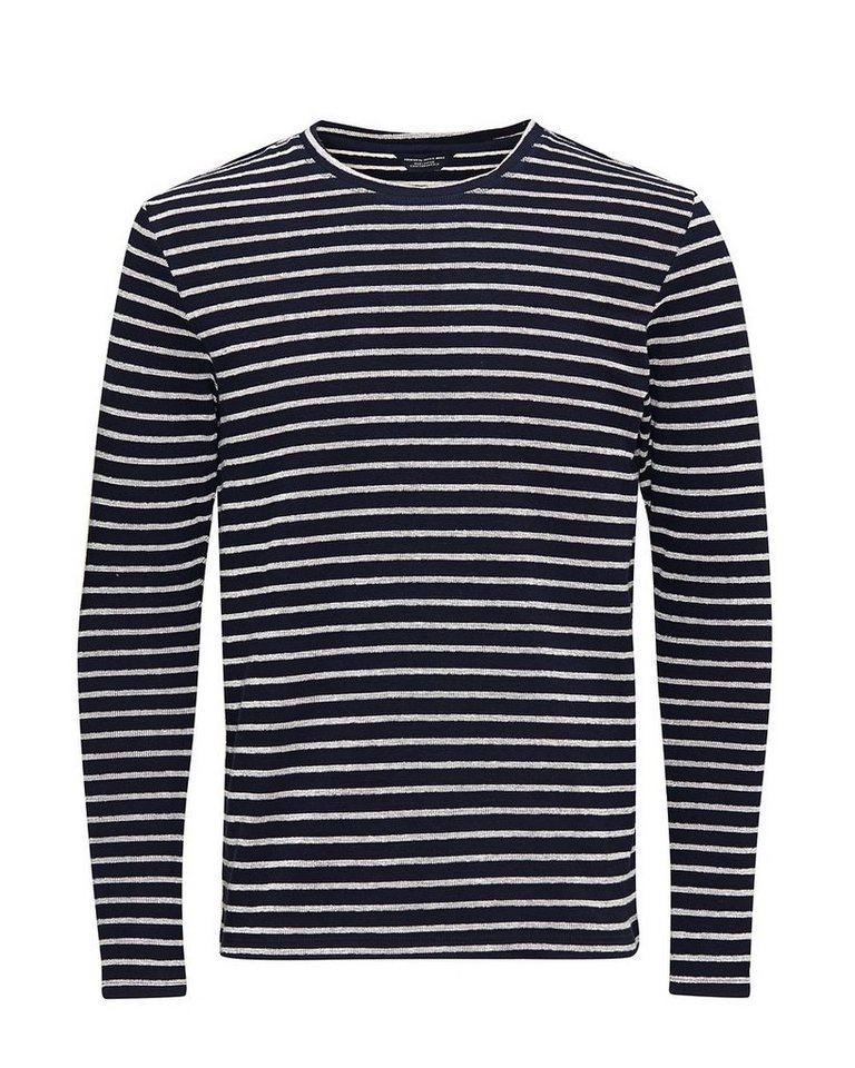 Jack & Jones Gestreiftes Baumwollpikee-Sweatshirt Sweatshirt in Navy Blazer