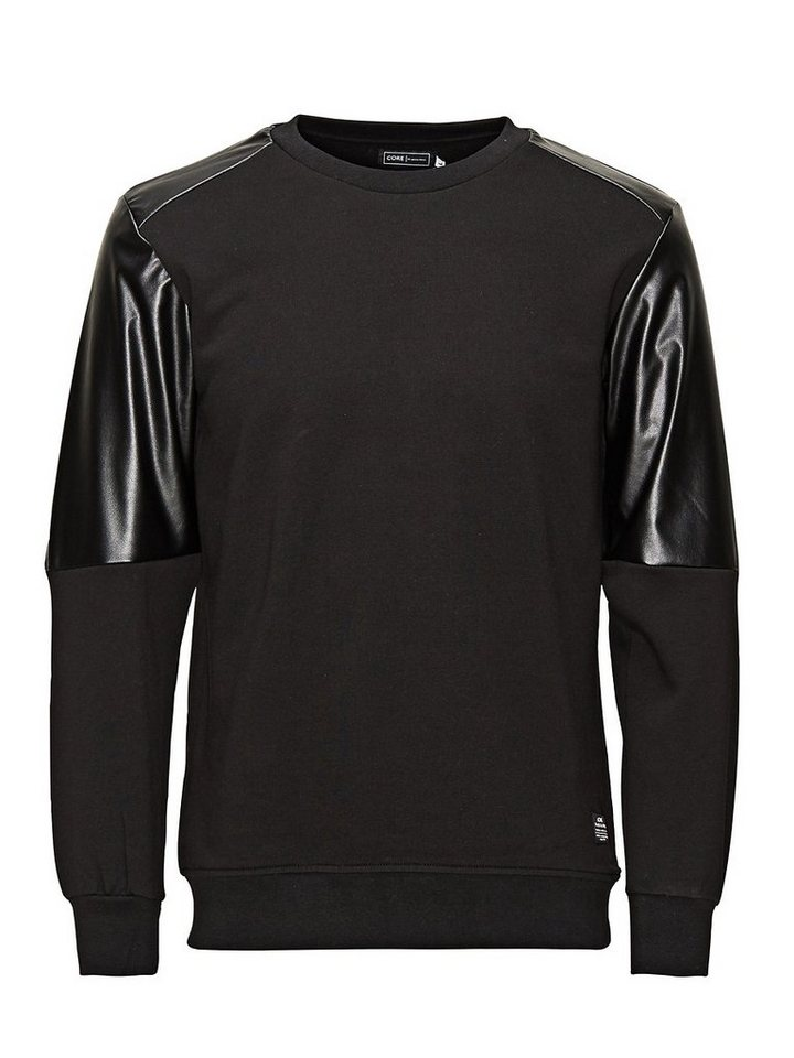 Jack & Jones Lederimitation- Sweatshirt in Black