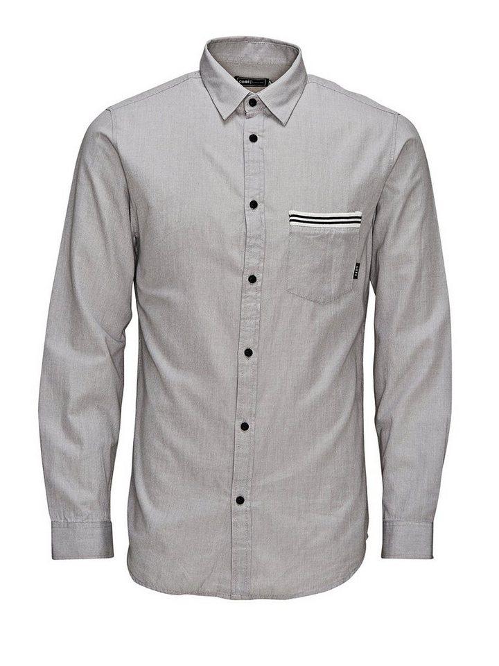 Jack & Jones Geripptes Detail- Freizeithemd in Grey Melange