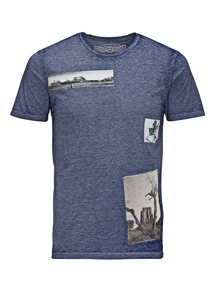 Jack & Jones Mit Fotoprint bedrucktes T-Shirt in Navy Blazer