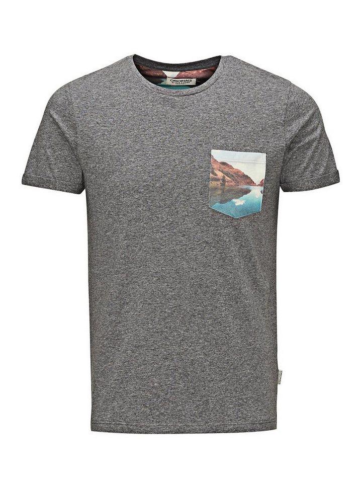 Jack & Jones Bedrucktes Pocket-Slim-Fit- T-Shirt in Grey Melange