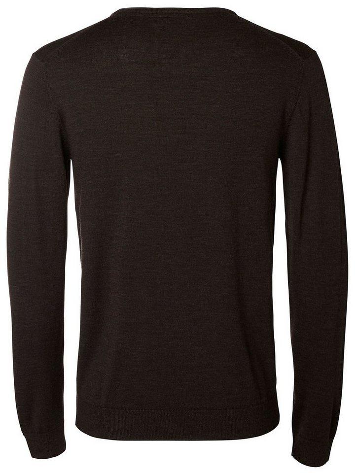 Selected V-Ausschnitt- Pullover in Demitasse