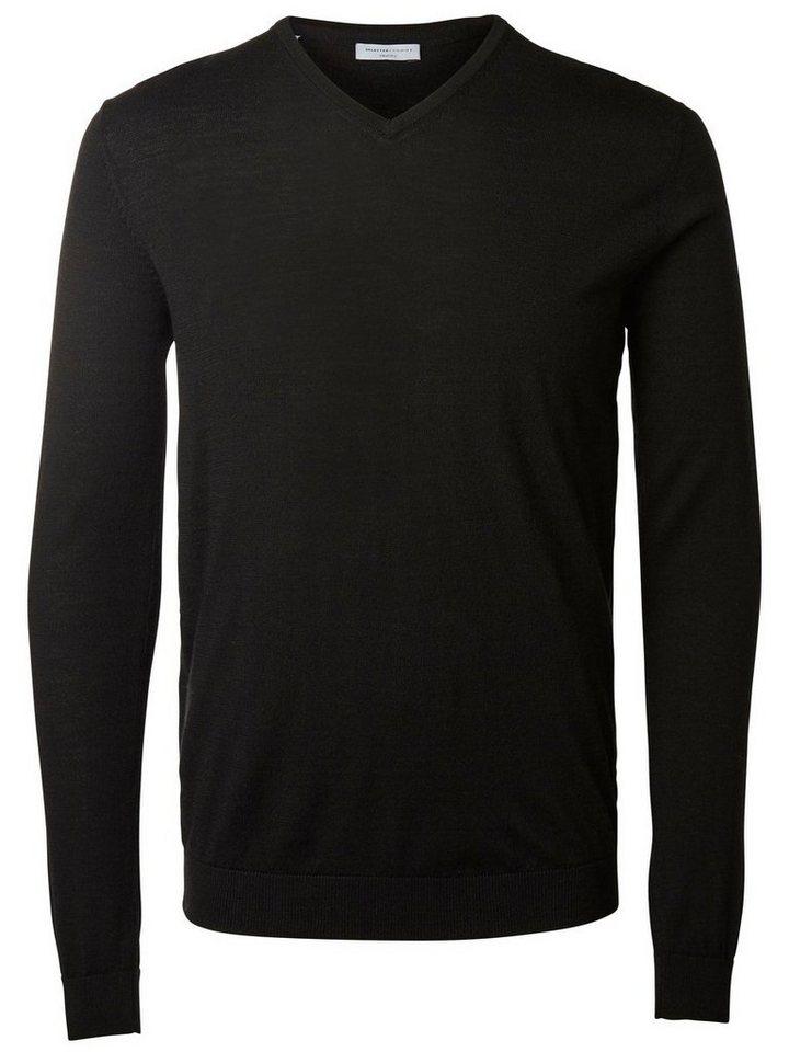 Selected V-Ausschnitt- Strickpullover in Black