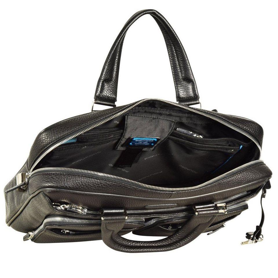 Piquadro Modus Aktentasche Leder 39 cm Laptopfach in schwarz