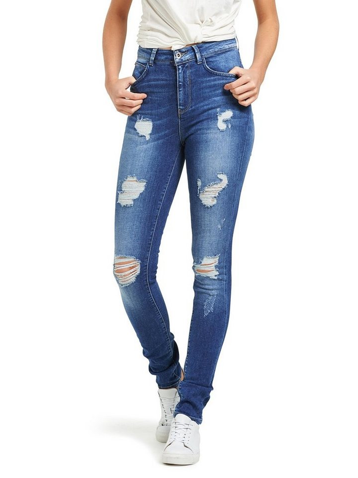 Only Coral High- Jeans in Medium Blue Denim
