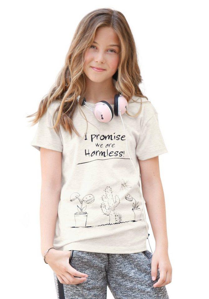Buffalo Oversize Shirt mit Frontdruck, Piping am Halsausschnitt für Mädchen in natur-offwhite-weiß