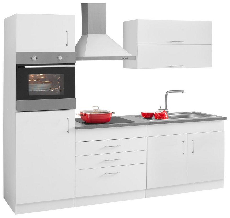 Held Möbel Küchenzeile mit E-Geräten »Mira«, Breite 240 cm in weiß
