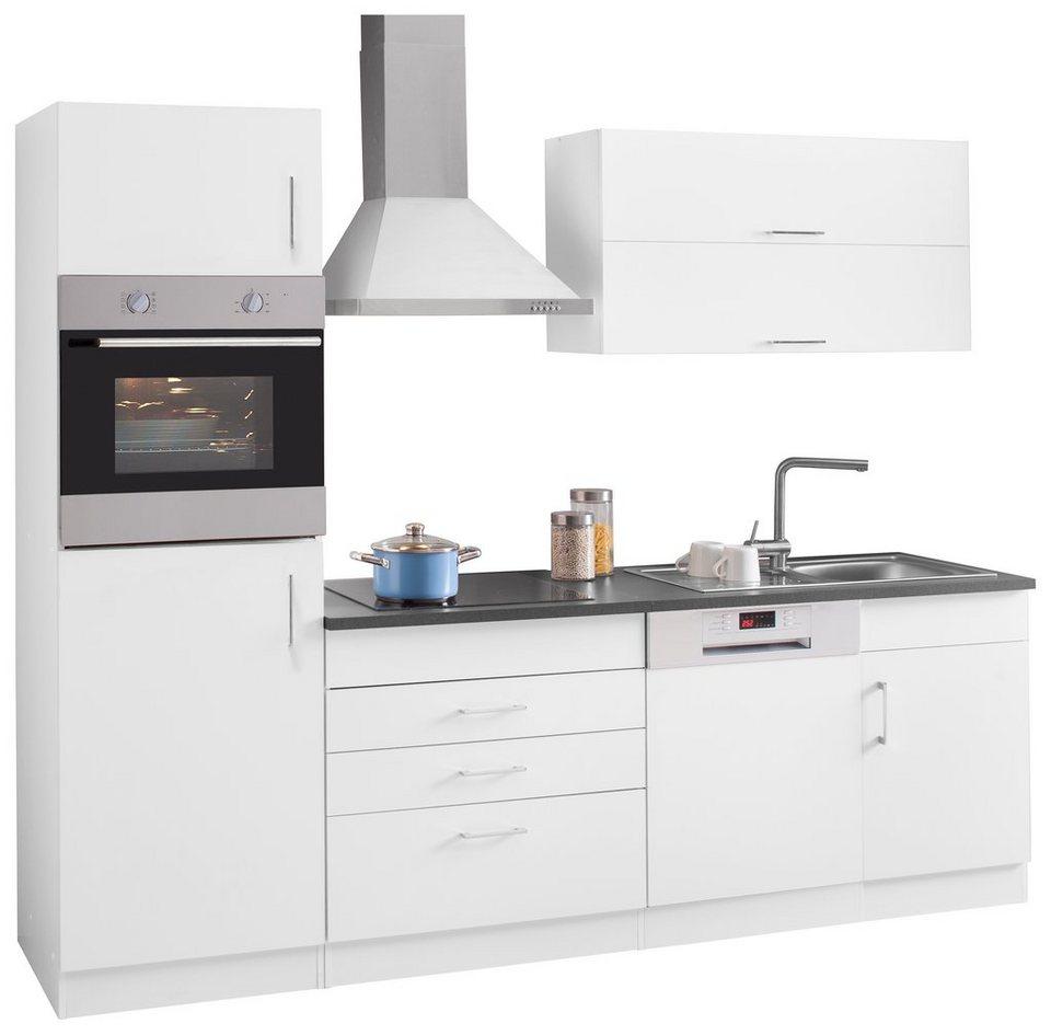 Held Möbel Küchenzeile mit E-Geräten »Mira«, Breite 250 cm in weiß