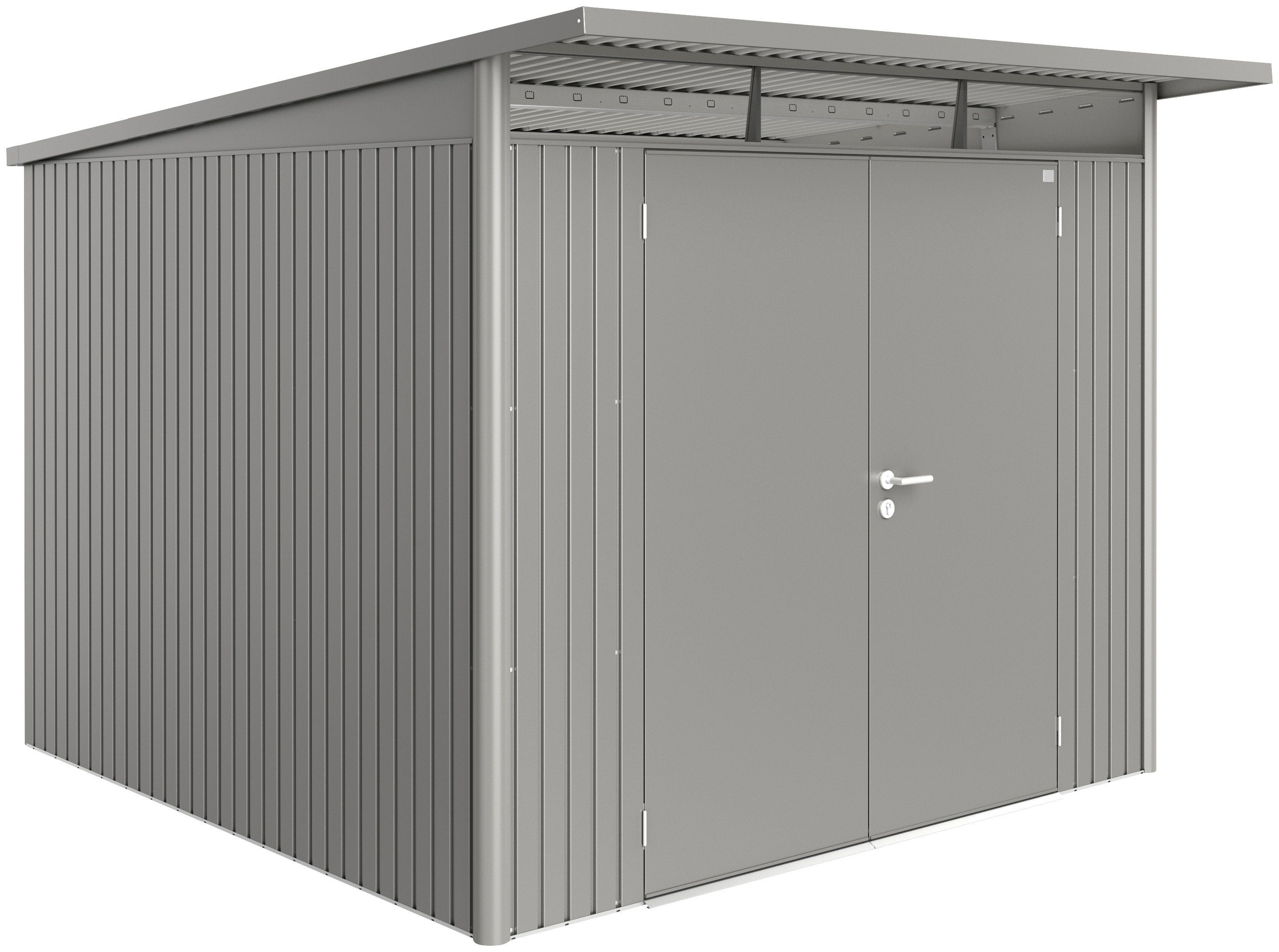 BIOHORT Stahlgerätehaus »AvantGarde XL«, BxT: 252 x 252 cm, quarzgrau-metallic
