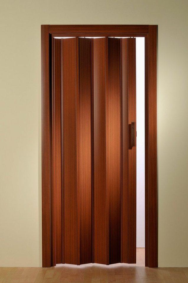 Kunststoff-Falttür, Höhe nach Maß, mahagonifarben (ohne Fenster) in mahagonifarben