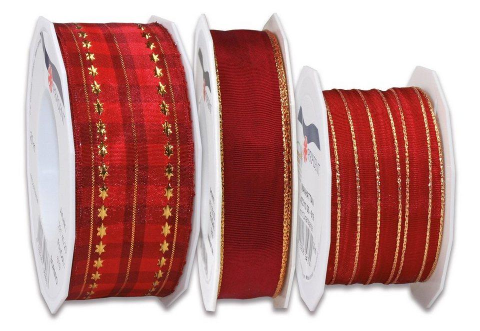 Präsent Schleifenbänder, 3 Rollen im Set, 70 m in Rot mit Gold