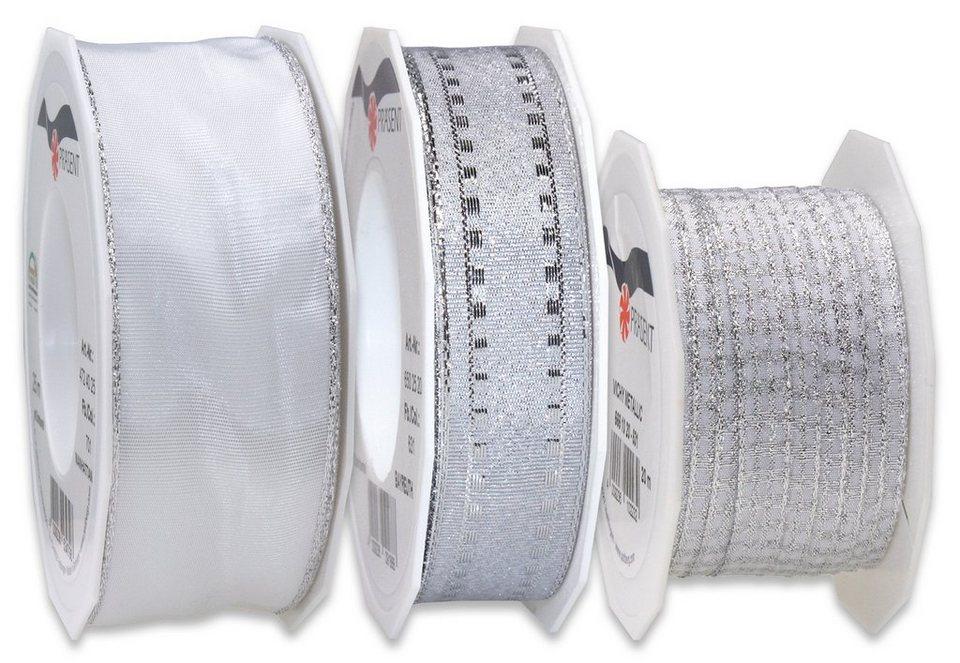 Präsent Schleifenbänder, 3 Rollen im Set, 65 m in silberfarben und weiß