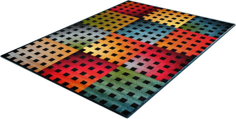 Teppich, Trend-Teppiche, »Kolibri 11001«, Karodesign in schwarz